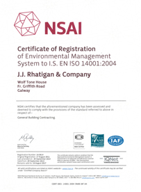 JJ Rhatigan Environmental Certification 2016