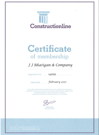 JJ Rhatigan Constructionline Certification 2016