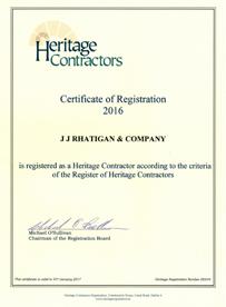 JJ Rhatigan Heritage Certification 2016