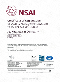 JJ Rhatigan Quality Certification 2016 - ISO 9001:2008